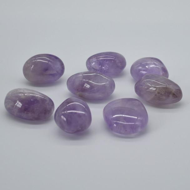 Natural Amethyst Semi-precious Gemstone Palm Stone Tumbled Stone - 1 Count  - 40-50 grams
