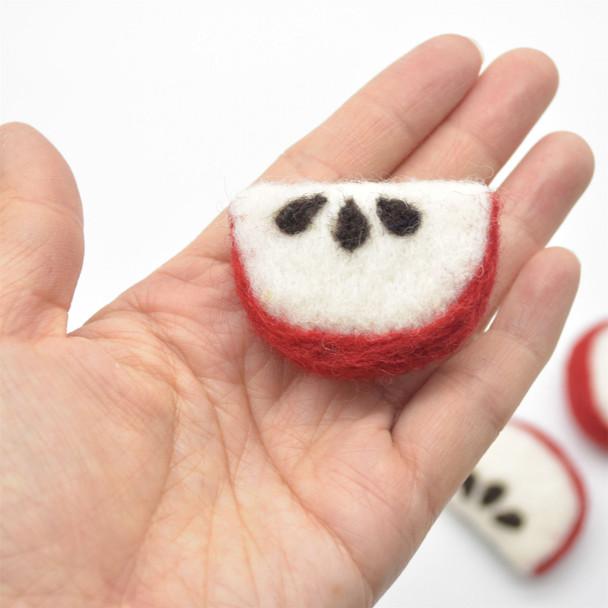 Handmade Wool Felt Apple Slice - 5 Count - approx 4cm - 4.5cm x  3.3cm x 1.5cm