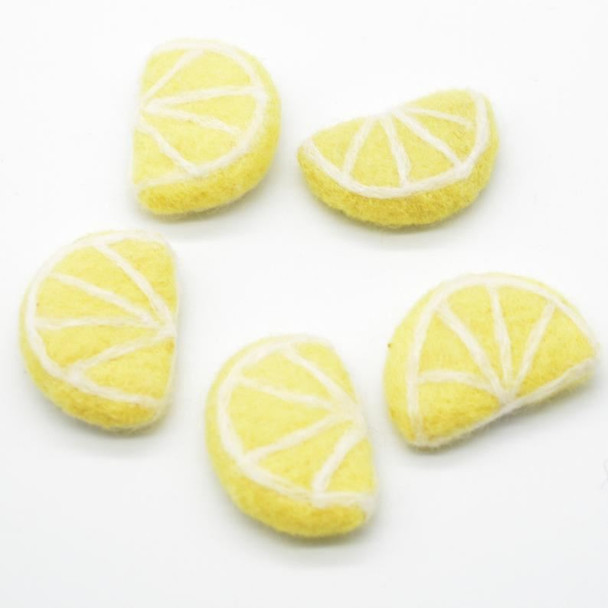 Handmade Wool Felt Citrus Fruits Slices - 5 Lemon Slices - approx 5cm x 3.5cm x 1.4cm