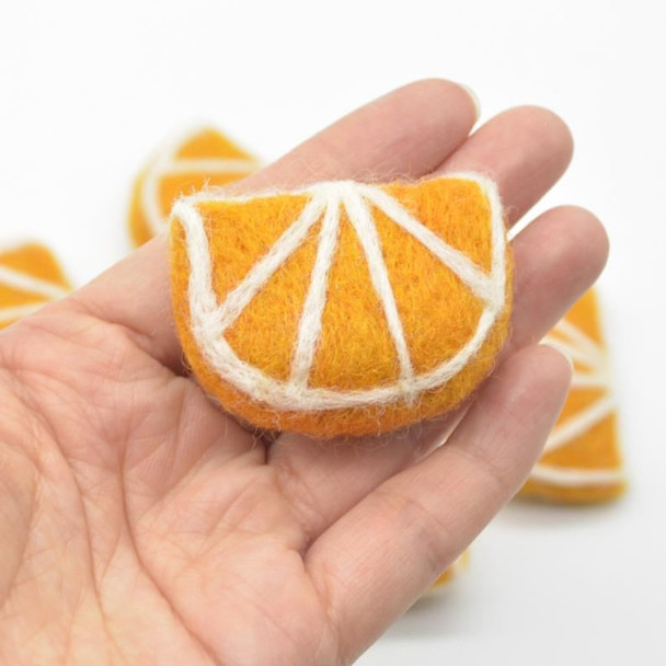 Handmade Wool Felt Citrus Fruits Slices - 5 Orange Segments - approx 5cm x 3.5cm x 1.4cm