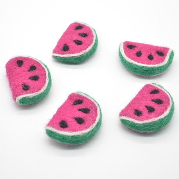 Handmade Wool Felt Watermelon Slice - 5 Count - approx 4cm - 4.5cm x  3.5cm x 1.5cm