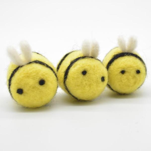 Handmade Wool Felt Bumble Bee - 2 Mustard Yellow Bees & 2 Yellow Bees - approx 3.5cm - 4cm x  2.7cm - 3cm
