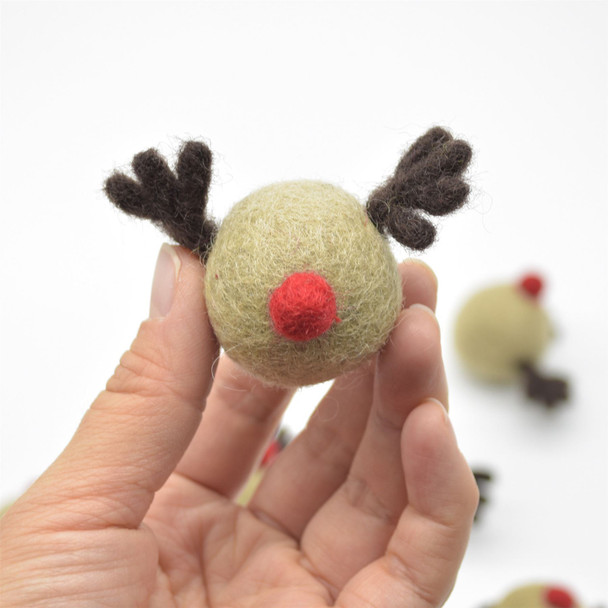 Handmade Wool Felt Red Nosed Reindeer - 5 Count - approx 3.5cm