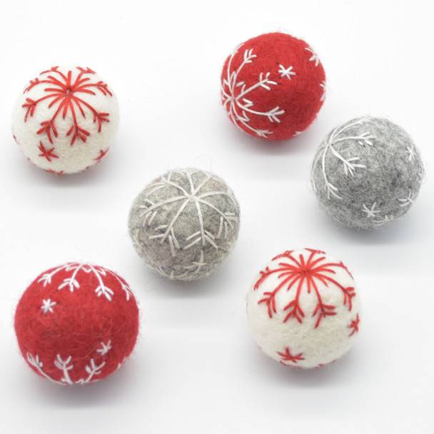 Handmade Wool Felt Christmas Embroidered Snowflake Bauble Ball - 6 Count - approx 3cm - Red, Light Grey, Ivory White