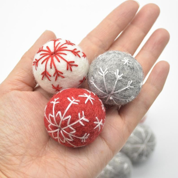 Handmade Wool Felt Christmas Embroidered Snowflake Bauble Ball - 6 Count - approx 3cm - Light Grey
