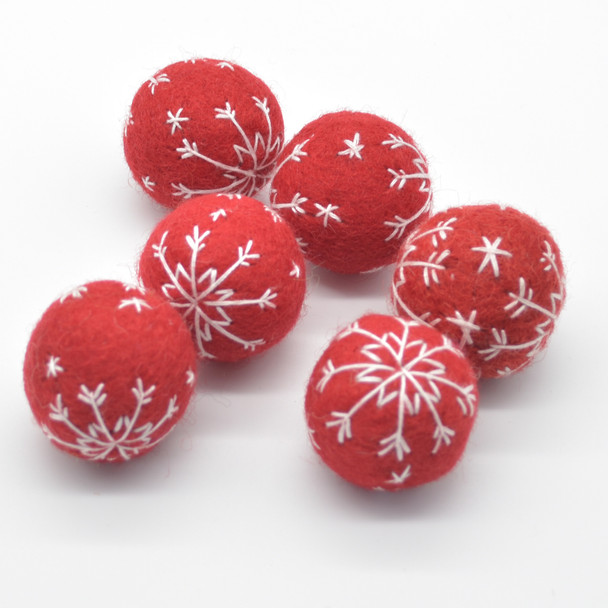 Wool Felt Christmas Embroidered Snowflake Bauble Ball - 6 Count - approx 3cm - Red