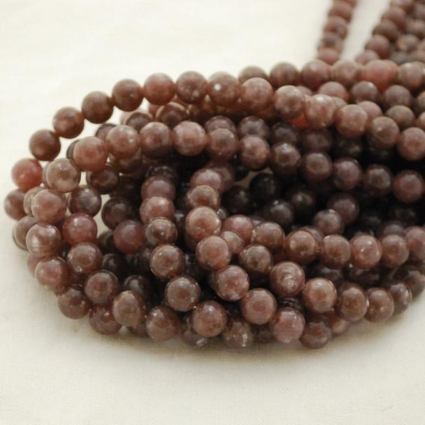 High Quality Grade A Natural Lepidolite (pale dusty purple) Semi-precious Gemstone Round Beads - 8mm