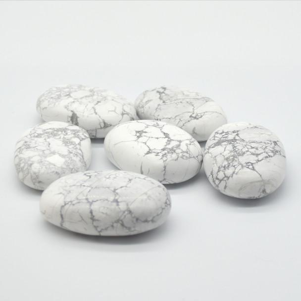 Natural White Howlite Semi-precious Gemstone Palm Stone Tumbled Stone - 1 Count - 80 - 100 grams per stone