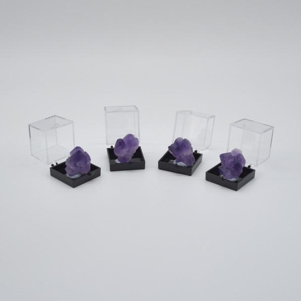 Raw Natural Madagascar Amethyst Semi-precious Gemstone Mini Specimen Sample with display box - approx 10 - 15 grams per sample