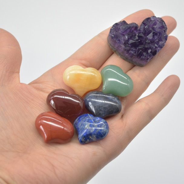 7 Chakra Gemstone Hearts - Set 02 - Red Jasper, Carnelian Agate, Yellow Calcite, Green Aventurine, Sodalite, Lapis Lazuil, Raw Amethyst