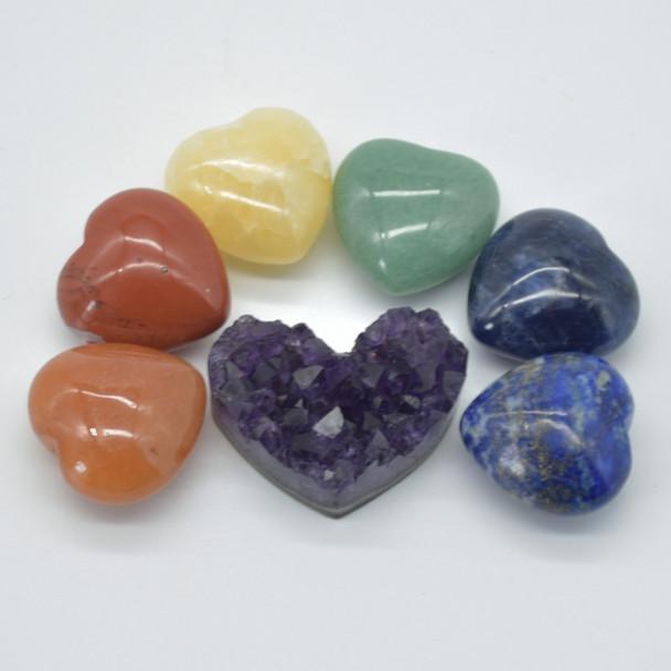 7 Chakra Gemstone Hearts - Set 01 - Red Jasper, Orange Aventurine, Yellow Calcite, Green Aventurine, Sodalite, Lapis Lazuil, Raw Amethyst