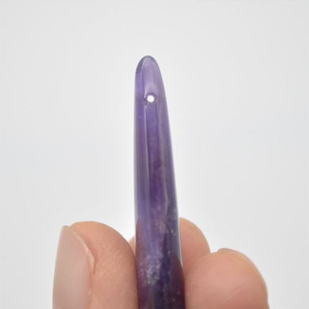 High Quality Grade A Natural Amethyst Semi Precious Gemstone Teadrop Earring / Beads - approx 5cm x 1.5cm - 1 pair