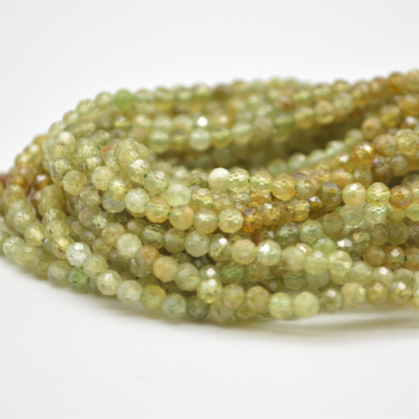 """High Quality Grade A Natural Green Garnet Semi-Precious Gemstone FACETED Round Beads - approx 2.5mm - 15.5"""" long"""