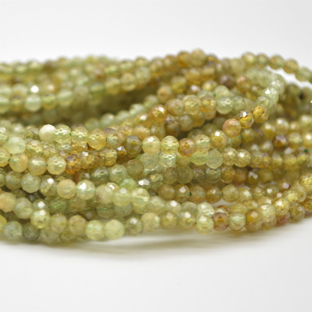 "High Quality Grade A Natural Green Garnet Semi-Precious Gemstone FACETED Round Beads - approx 4mm - 15.5"" long"