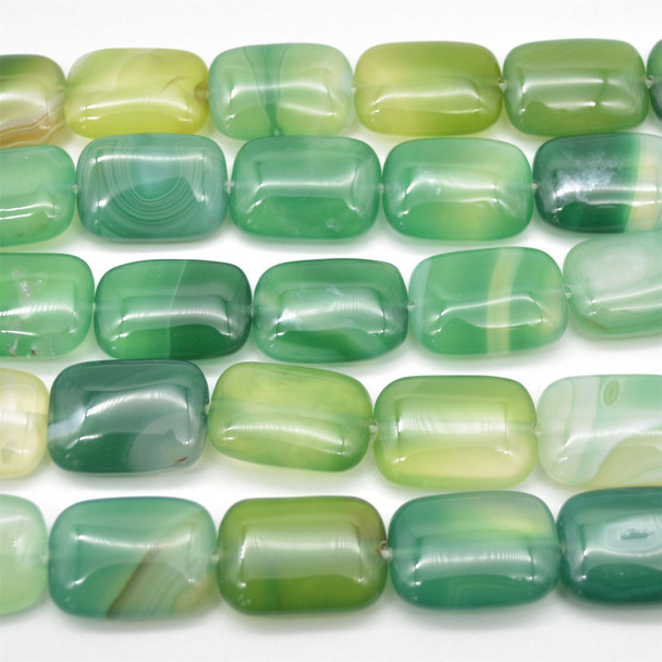 """High quality Grade A Green Banded Agate semi-precious gemstone rectangle beads - approx 18mm x 25mm - 15.5"""" long strand"""