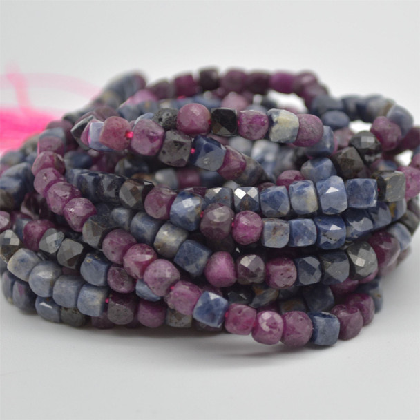 """High Quality Grade A Natural Ruby & Sapphire Semi-precious Gemstone Faceted Cube Beads - 3mm - 4mm - 15.5"""" strand"""