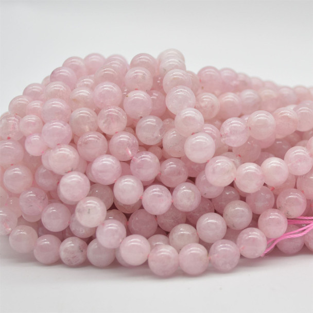 """High Quality Grade A Natural Pink Morganite Semi-Precious Gemstone Round Beads - 4mm, 6mm, 8mm, 10mm sizes - 15.5"""" long"""