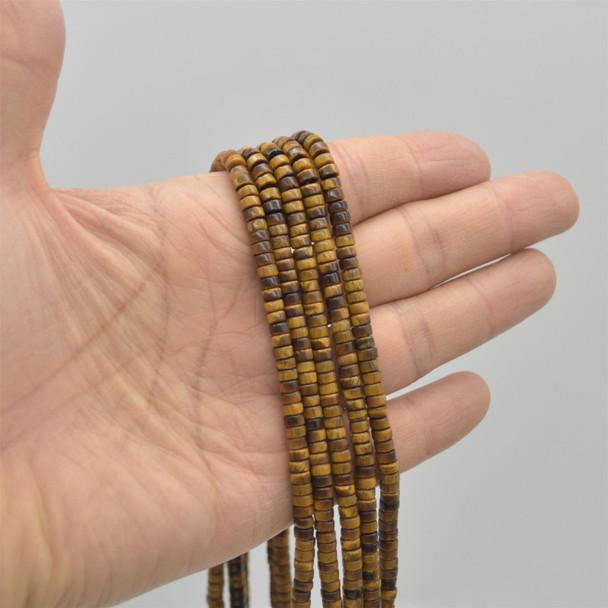 "High Quality Grade A Natural Tigers Eye Semi-Precious Gemstone Flat Heishi Rondelle / Disc Beads - approx 4mm x 2mm - 15.5"" strand"