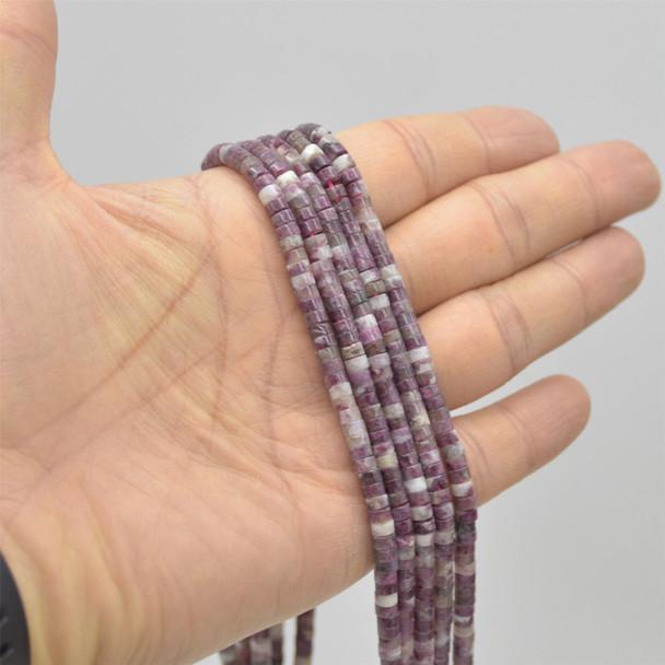 "High Quality Grade A Natural Pink Tourmaline Semi-Precious Gemstone Flat Rondelle / Disc Beads - approx 4mm x 2mm - 15.5"" strand"