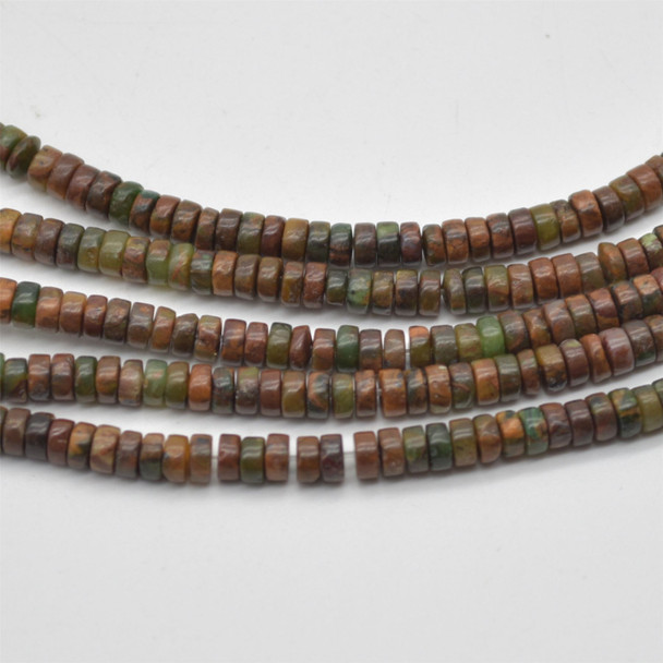 "High Quality Grade A Natural Green Chalcedony Opal Semi-Precious Gemstone Flat Rondelle / Disc Beads - approx 4mm x 2mm - 15.5"" strand"