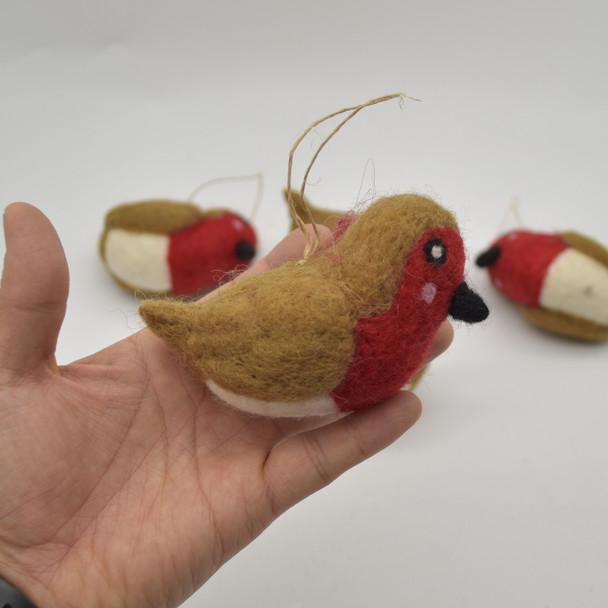 Felt Christmas Robin Figure - 1 Count - approx 9.5cm - 10cm x 4cm - 5cm