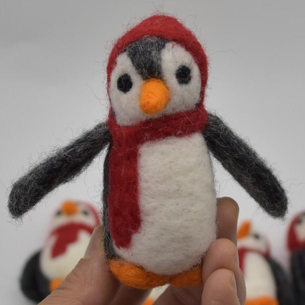 Felt Christmas Penguin Figure - 3 Count - approx 9cm - 9.5cm x 4cm - 4.5cm