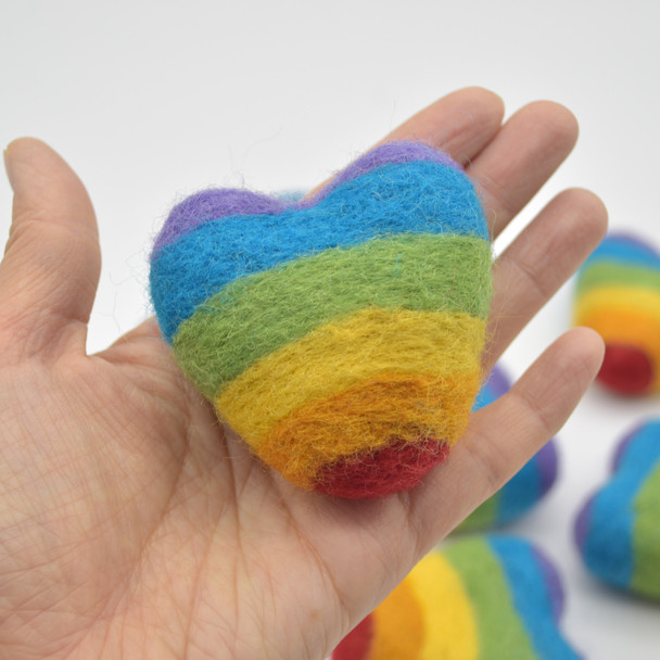 100% Wool Felt Heart - 4 Count - 6cm - Rainbow Colours
