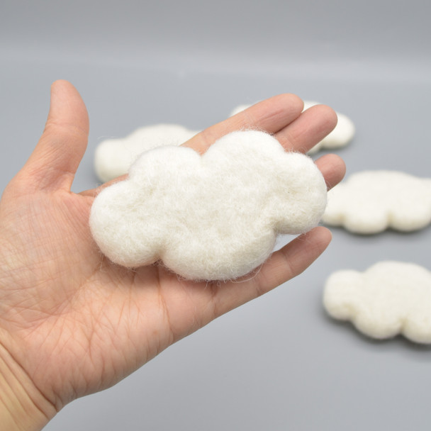 100% Wool Needle Felted Clouds - 4 Count - approx 9cm x 5.5cm - Ivory White