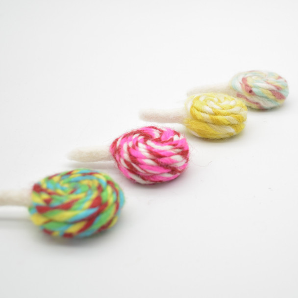 Felt Swirl Lollipops - 4 Assorted Lollipops - approx 6.5cm - 7cm x 4cm x 2.5cm