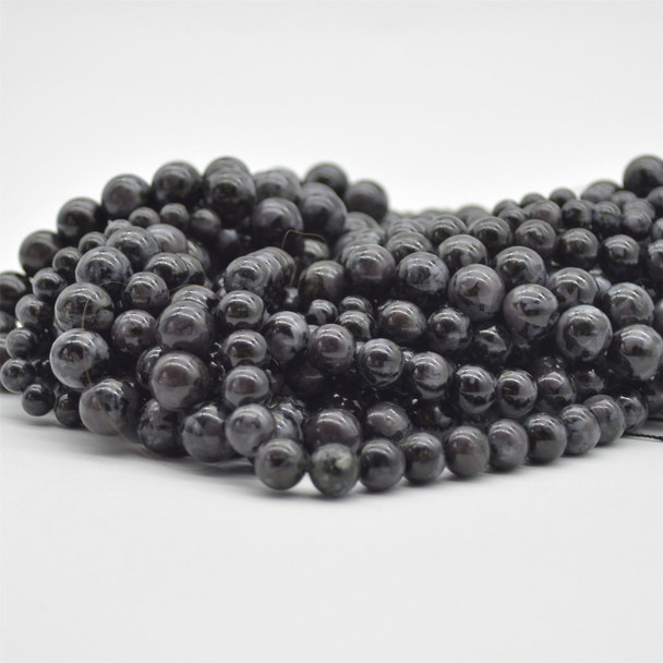 "High Quality Grade A Natural Indigo Gabbro Mystic Merlinite Semi-Precious Gemstone Round Beads - 6mm, 8mm, 10mm sizes - 15.5"" long"