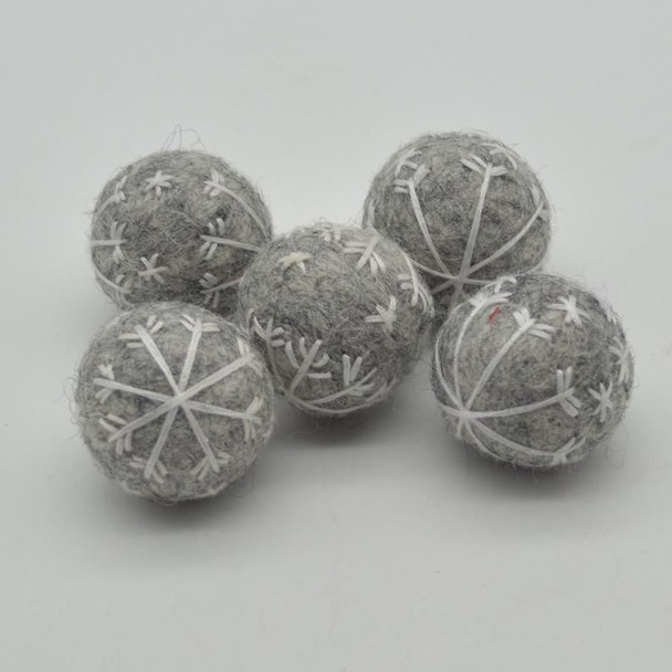Felt Christmas Embroidered Snowflake Bauble Felt Ball - 6 Count - Grey - 2.5cm