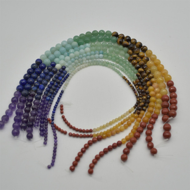 """High Quality Grade A Natural 7 Chakra Semi-Precious Gemstone Faceted Round Beads - 4mm, 6mm, 8mm, 10mm sizes - 15.5"""" strand - Set01"""