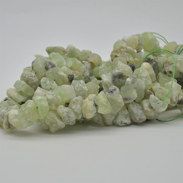 "Raw Hand Polished Natural Prehnite Semi-precious Gemstone Nugget Beads - approx 8mm - 10mm x 12mm - 15mm - approx 15.5"" strand"