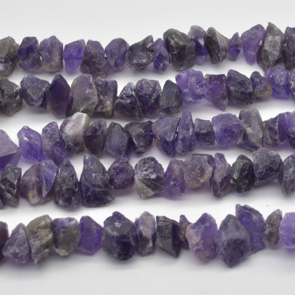 """Raw Hand Polished Natural Amethyst Semi-precious Gemstone Nugget Beads - approx 8mm - 10mm x 12mm - 15mm - approx 15.5"""" strand"""