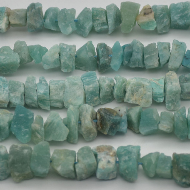 """Raw Hand Polished Natural Amazonite Semi-precious Gemstone Nugget Beads - approx 8mm - 10mm x 12mm - 15mm - approx 15.5"""" strand"""