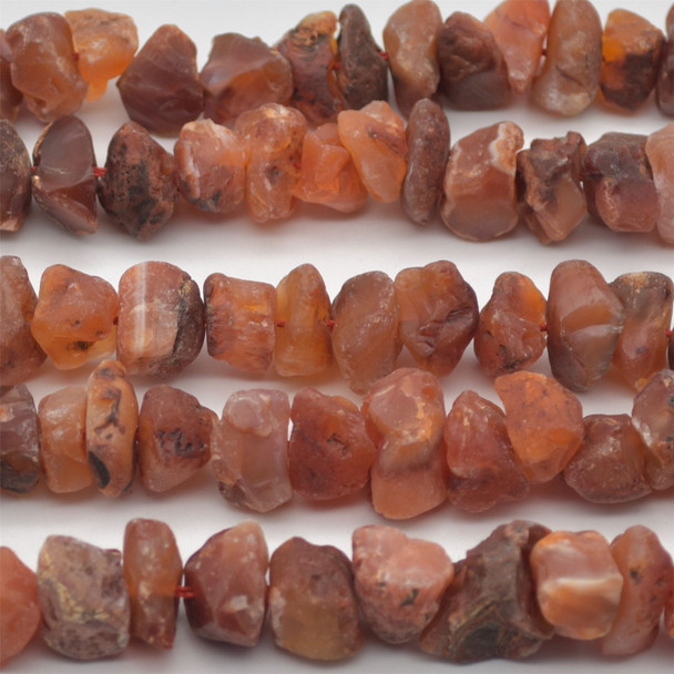 """Raw Hand Polished Natural Carnelian Agate Semi-precious Gemstone Nugget Beads - approx 8mm - 10mm x 12mm - 15mm - approx 15.5"""" strand"""