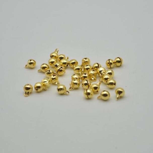 Metallic Jingle / Sleigh Bells - Gold  - 100 Count - 6mm