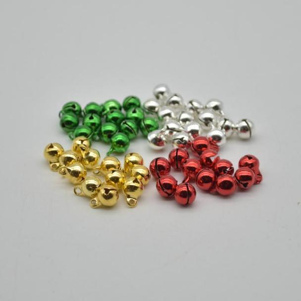 Metallic Jingle / Sleigh Bells - Assorted Colours  - 100 Count - 6mm