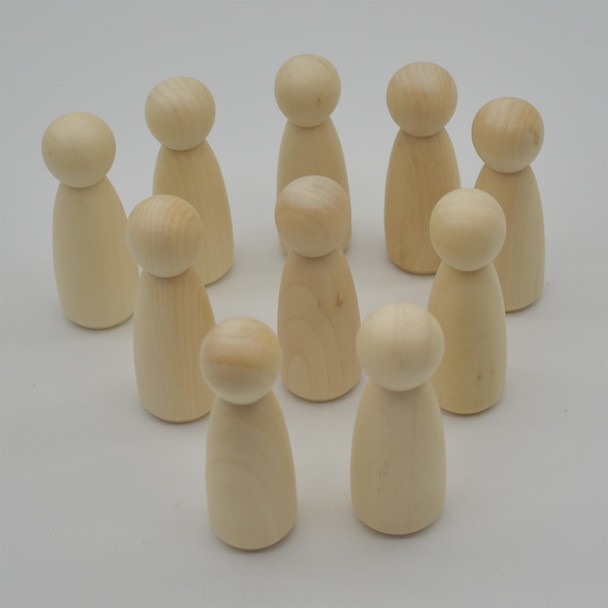Natural Plain Wood Peg Doll Female Figures - 10 Count - 75mm