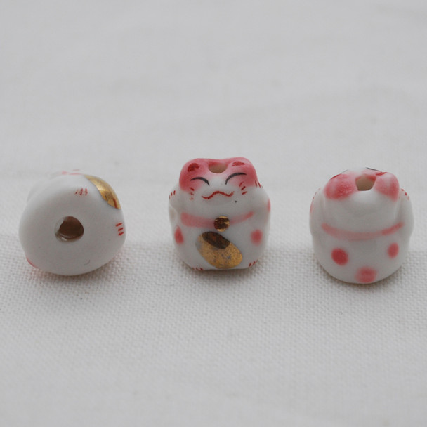 5 Maneki Neko Lucky Cat Porcelain Beads - Feng Shui - Getting Wealthier