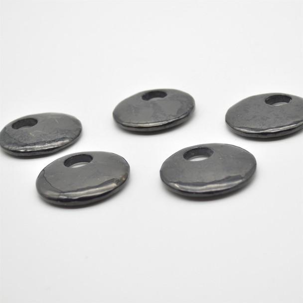 Natural Shungite Coin / Disc Shaped Semi-precious Gemstone Pendant - Approx  40mm x 0.5mm - 1  count