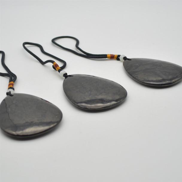 Natural Shungite Large Teardrop Shaped Semi-precious Gemstone Pendant - Approx  8cm x 6cm - 1  count