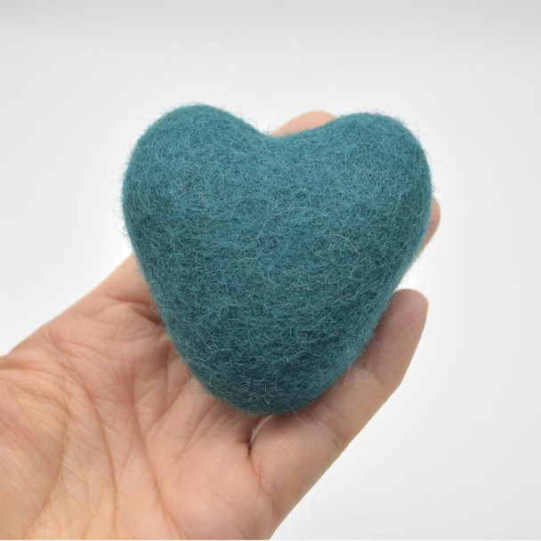 100% Wool Felt Heart - 6cm - 2 Count - Teal Green