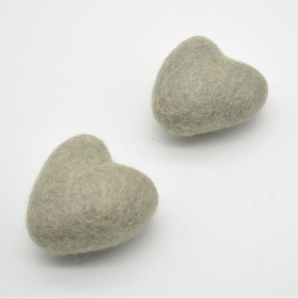 100% Wool Felt Heart - 6cm - 2 Count - Taupe Grey