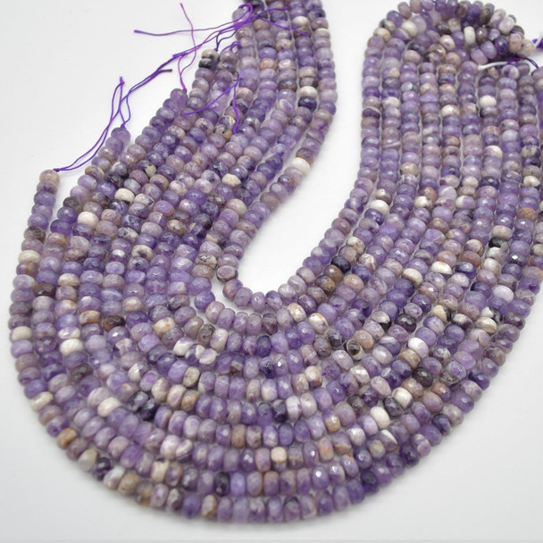 """Grade A Natural Chevron Amethyst Semi-precious Gemstone FACETED Rondelle Spacer Beads - 6mm x 4mm - 15.5"""" strand"""