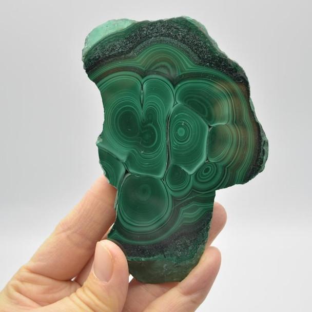Natural Malachite Semi-precious Gemstone Slice / Slab - 1 count - 10.5cm x 6.5cm x 1cm - 148 grams - #06