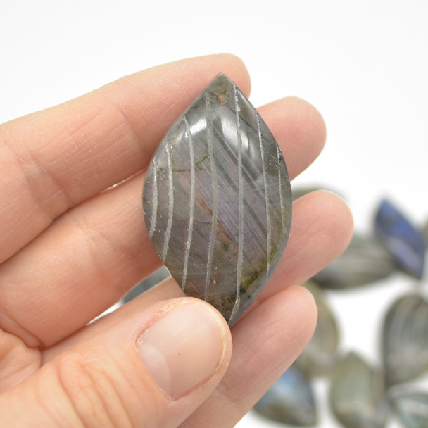 5 Labradorite Gemstone Pendants - Wave Motif - Assorted Patterns and Sizes