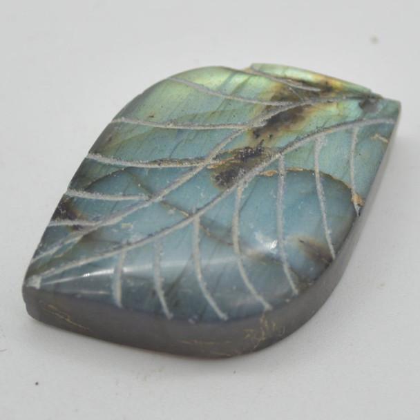 5 Labradorite Gemstone Pendants - Leaf Motif - Assorted Patterns and Sizes