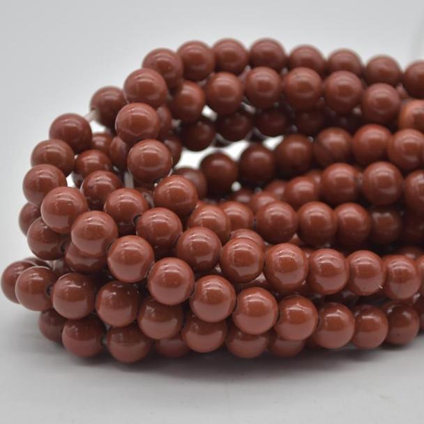 "Large Hole (2mm) Beads - Natural Red Jasper Semi-precious Gemstone Round Beads - 8mm - 15.5"" strand"