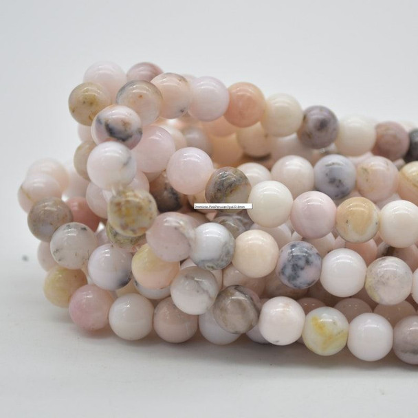 "Large Hole (2mm) Beads - Natural Pink Peruvian Opal Semi-precious Gemstone Round Beads - 8mm - 15.5"" strand"